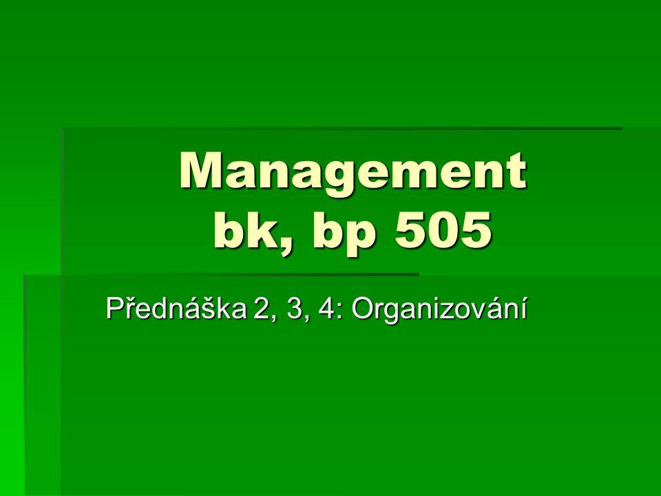 Přednáška 2, 3, 4: Organizování