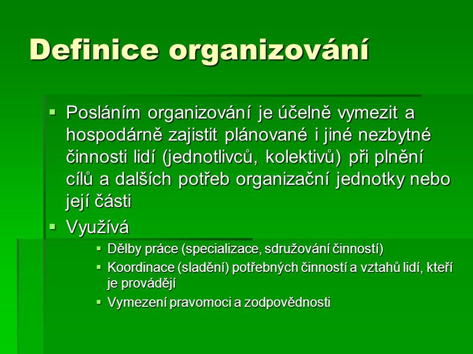 Definice organizování