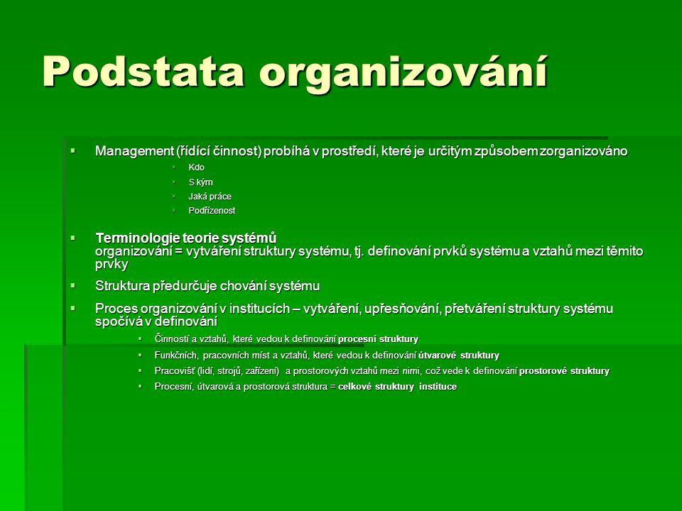 Podstata organizování