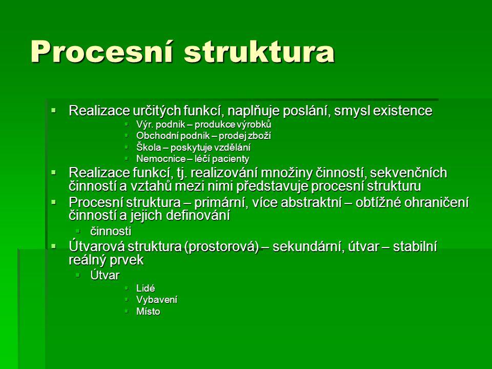 Procesní struktura Realizace určitých funkcí, naplňuje poslání, smysl existence. Výr. podnik – produkce výrobků.