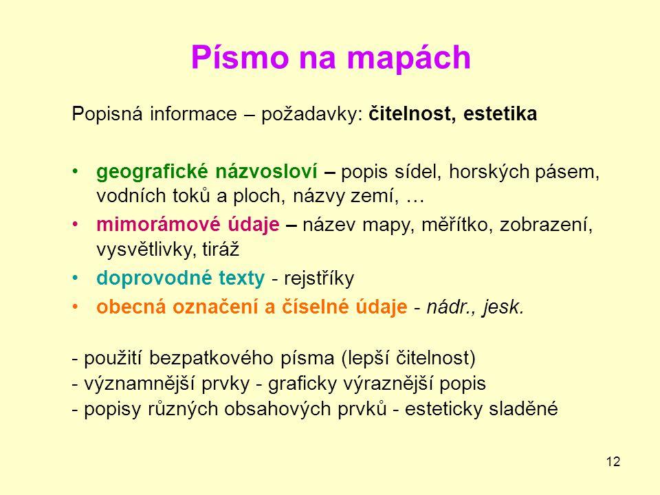Písmo na mapách Popisná informace – požadavky: čitelnost, estetika