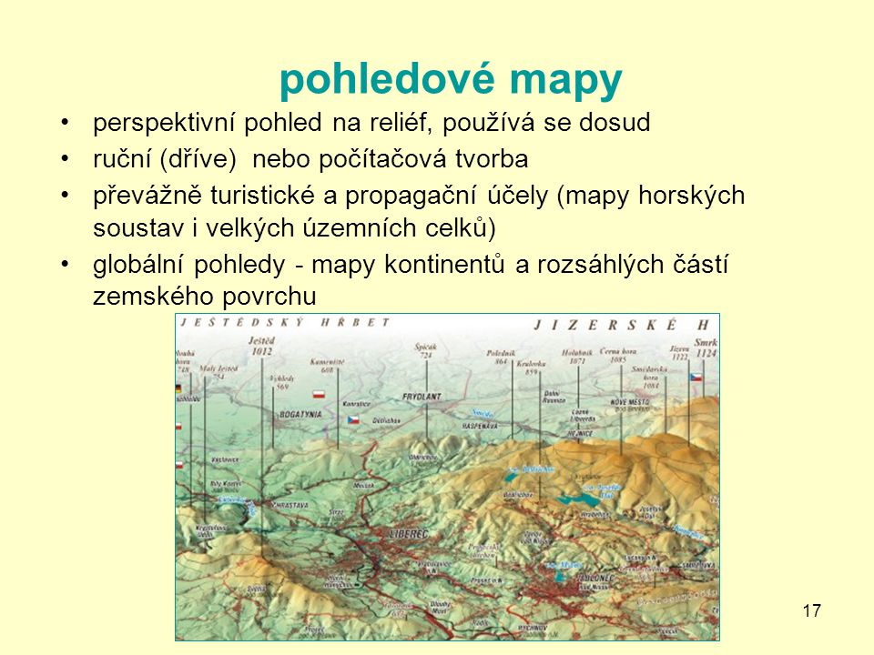 pohledové mapy perspektivní pohled na reliéf, používá se dosud