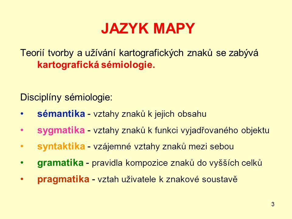 JAZYK MAPY Teorií tvorby a užívání kartografických znaků se zabývá kartografická sémiologie. Disciplíny sémiologie: