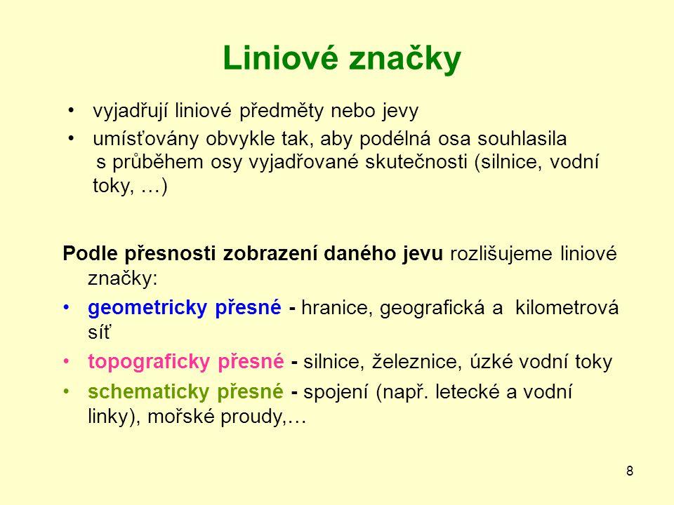 Liniové značky vyjadřují liniové předměty nebo jevy