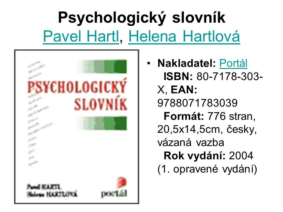 Psychologický slovník Pavel Hartl, Helena Hartlová