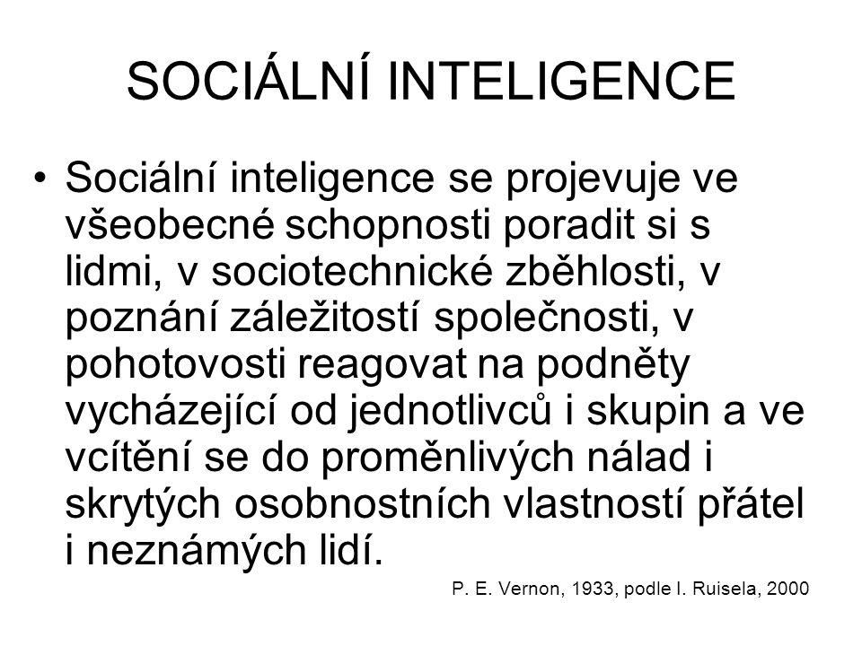 SOCIÁLNÍ INTELIGENCE