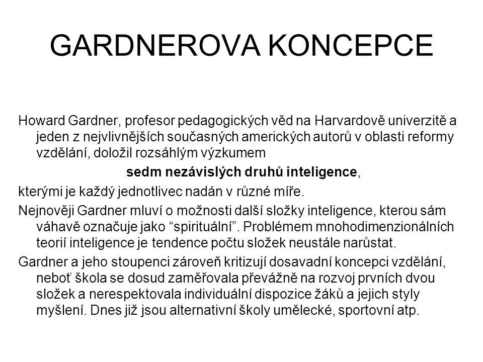 sedm nezávislých druhů inteligence,