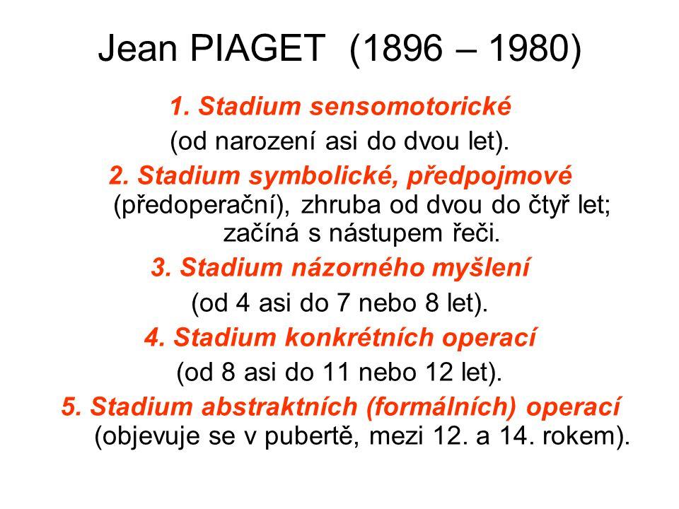 3. Stadium názorného myšlení 4. Stadium konkrétních operací