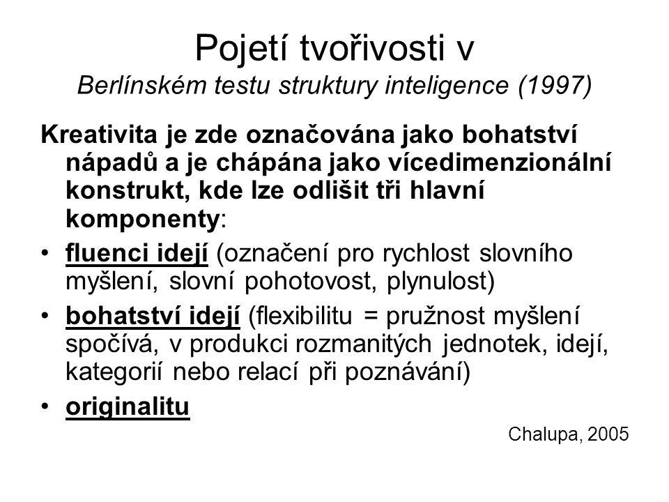 Pojetí tvořivosti v Berlínském testu struktury inteligence (1997)