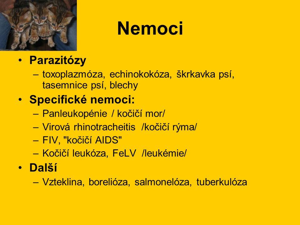 Nemoci Parazitózy Specifické nemoci: Další