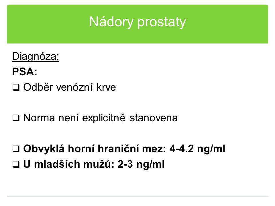 Nádory prostaty Diagnóza: PSA: Odběr venózní krve