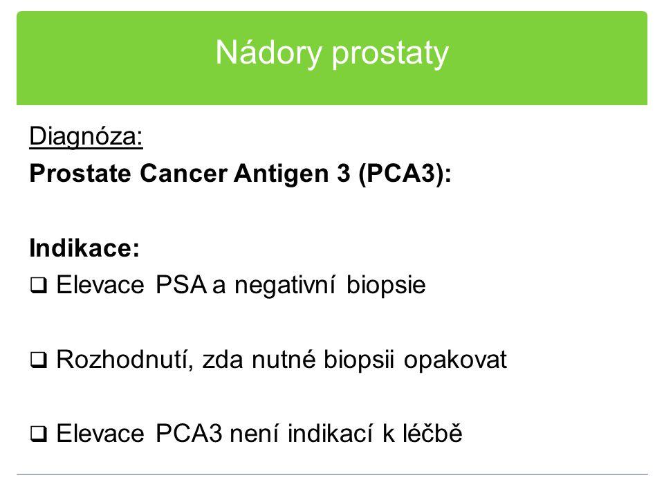 Nádory prostaty Diagnóza: Prostate Cancer Antigen 3 (PCA3): Indikace: