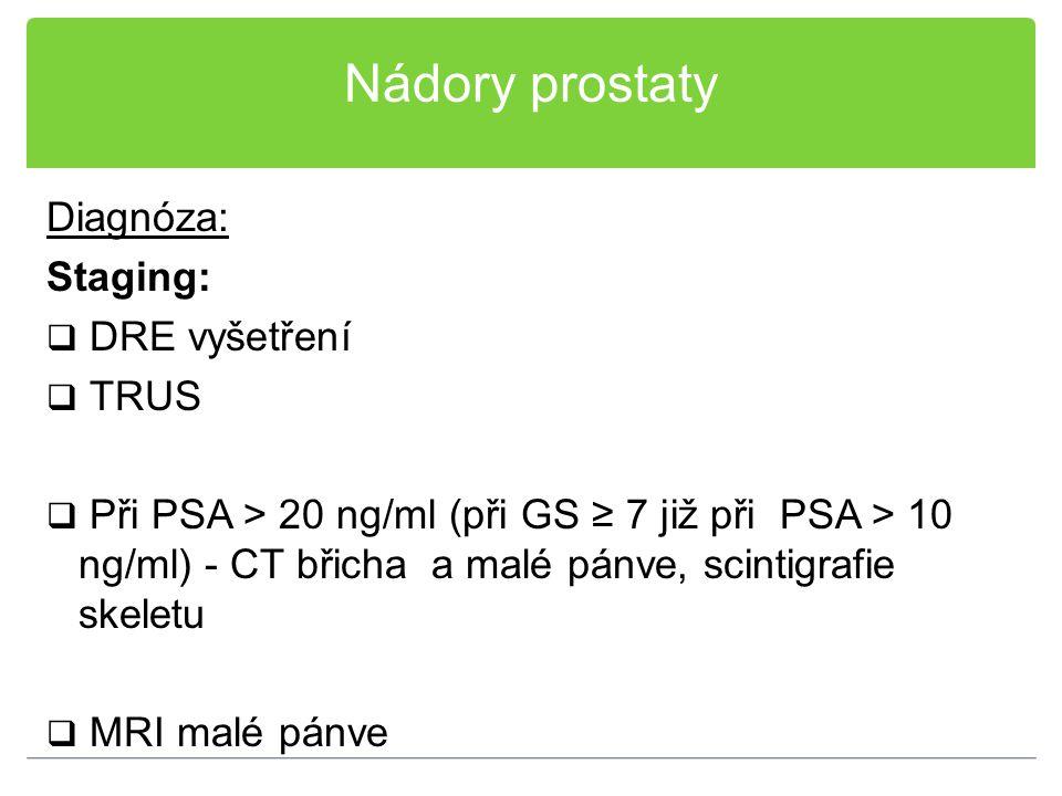 Nádory prostaty Diagnóza: Staging: DRE vyšetření TRUS