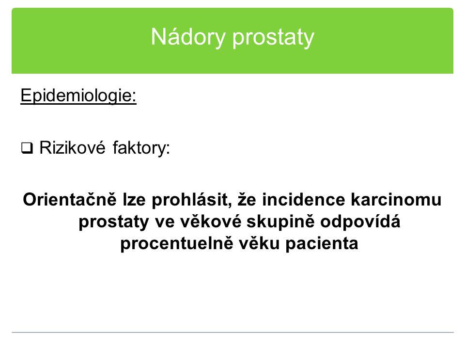 Nádory prostaty Epidemiologie: Rizikové faktory: