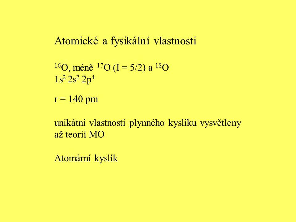 Atomické a fysikální vlastnosti