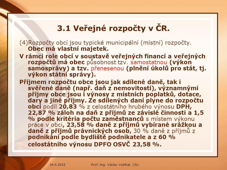 3.1 Veřejné rozpočty v ČR. (4)Rozpočty obcí jsou typické municipální (místní) rozpočty. Obec má vlastní majetek.