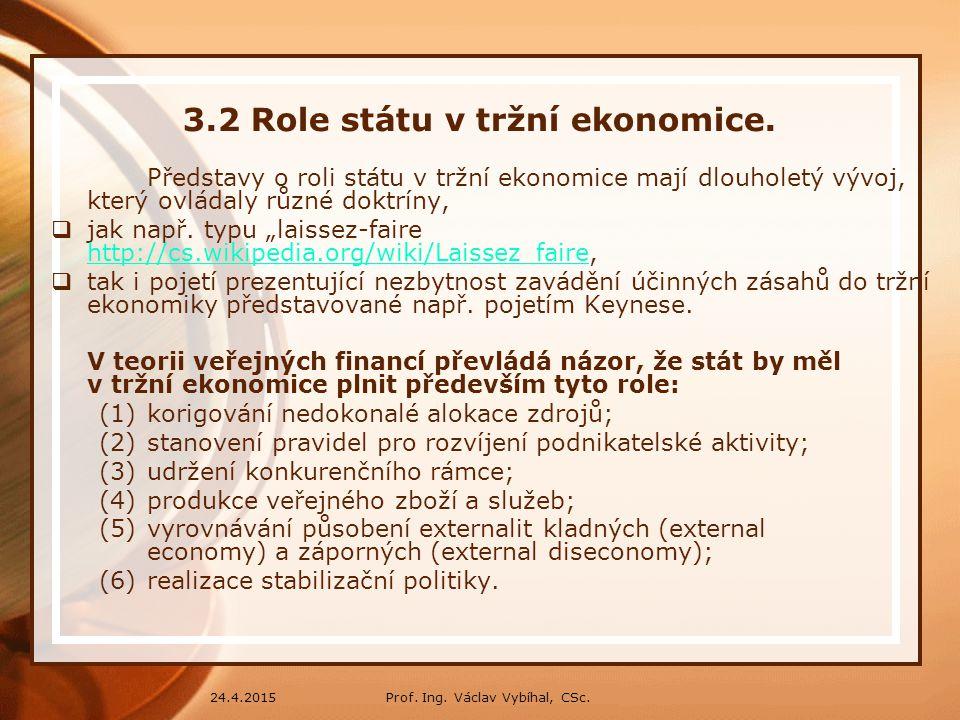 3.2 Role státu v tržní ekonomice.