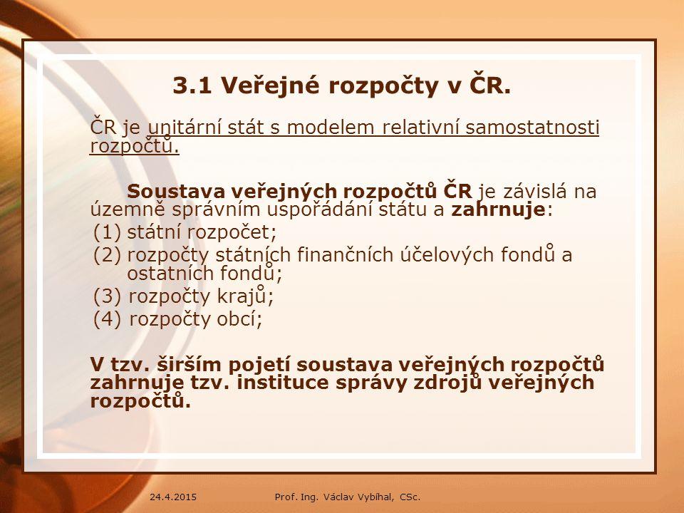 3.1 Veřejné rozpočty v ČR. ČR je unitární stát s modelem relativní samostatnosti rozpočtů.