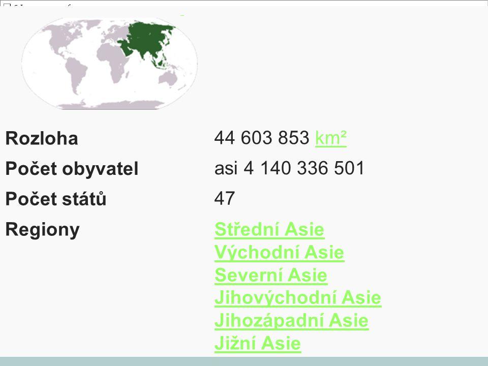 Rozloha 44 603 853 km² Počet obyvatel asi 4 140 336 501 Počet států 47