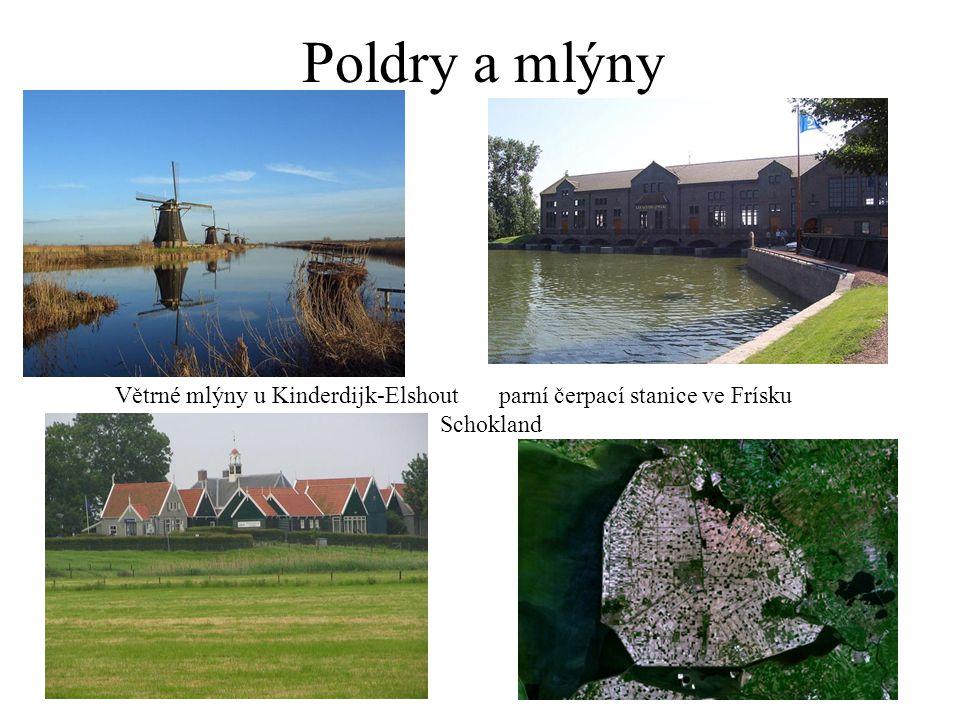 Poldry a mlýny Větrné mlýny u Kinderdijk-Elshout parní čerpací stanice ve Frísku Schokland