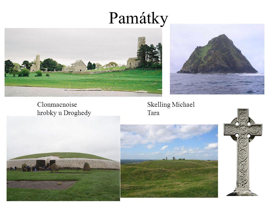 Památky Clonmacnoise Skelling Michael hrobky u Droghedy Tara