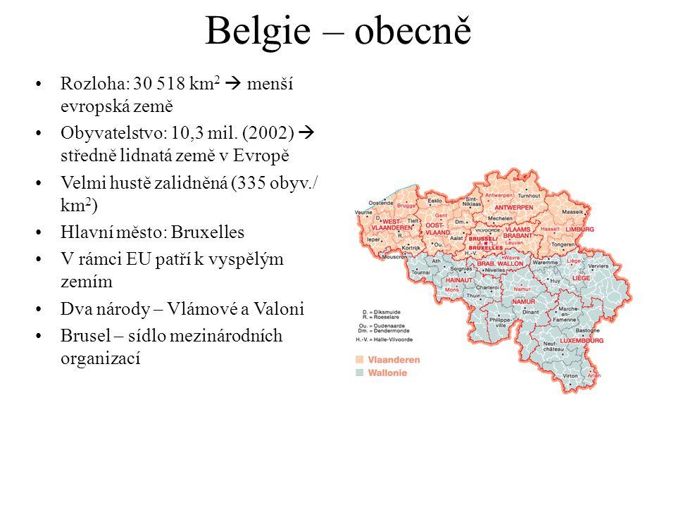 Belgie – obecně Rozloha: 30 518 km2  menší evropská země
