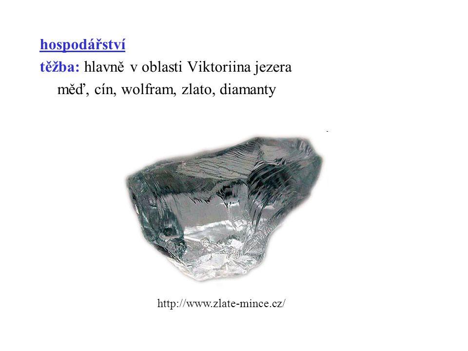 hospodářství těžba: hlavně v oblasti Viktoriina jezera měď, cín, wolfram, zlato, diamanty