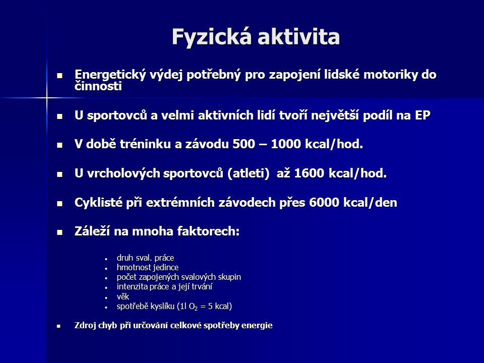 Fyzická aktivita Energetický výdej potřebný pro zapojení lidské motoriky do činnosti. U sportovců a velmi aktivních lidí tvoří největší podíl na EP.