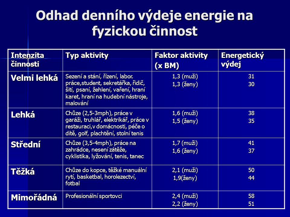 Odhad denního výdeje energie na fyzickou činnost