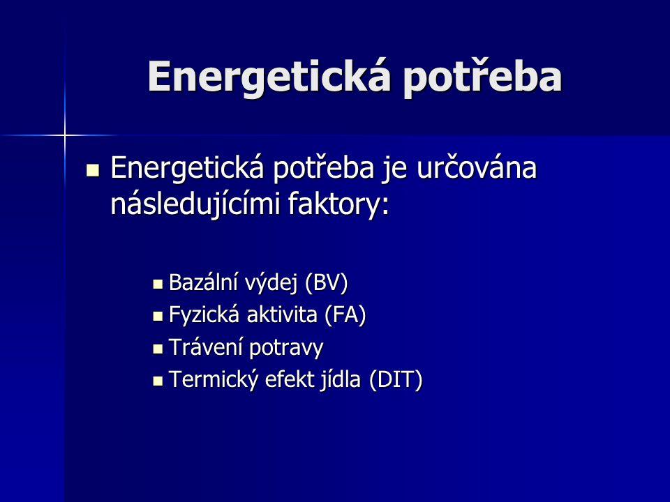 Energetická potřeba Energetická potřeba je určována následujícími faktory: Bazální výdej (BV) Fyzická aktivita (FA)