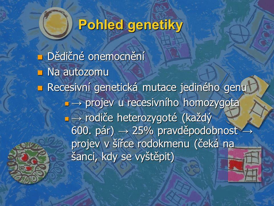 Pohled genetiky Dědičné onemocnění Na autozomu