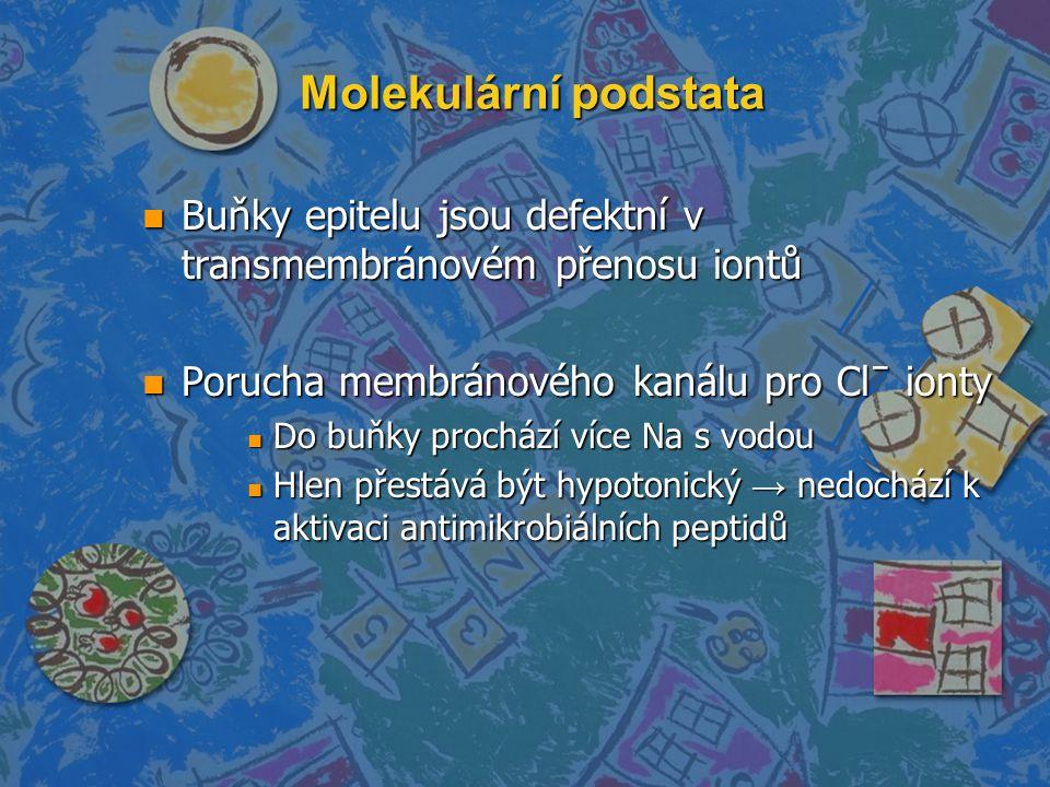 Molekulární podstata Buňky epitelu jsou defektní v transmembránovém přenosu iontů. Porucha membránového kanálu pro Clˉ ionty.