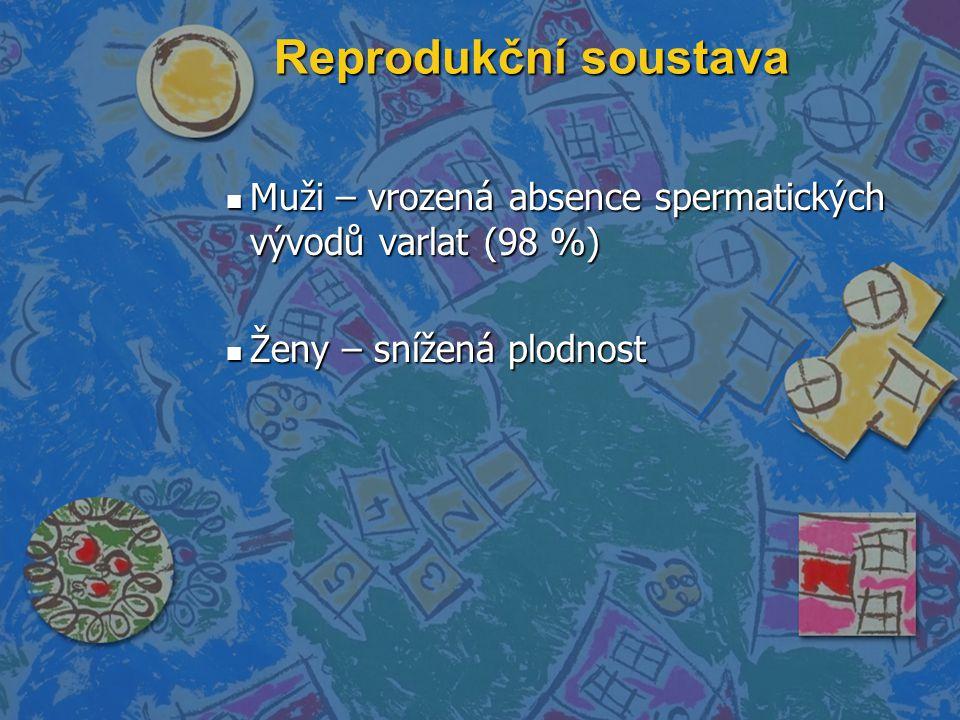 Reprodukční soustava Muži – vrozená absence spermatických vývodů varlat (98 %) Ženy – snížená plodnost.