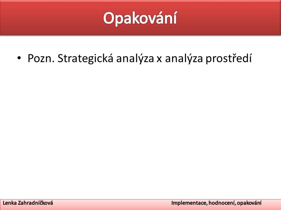 Opakování Pozn. Strategická analýza x analýza prostředí