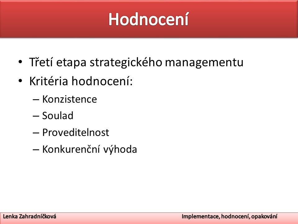 Hodnocení Třetí etapa strategického managementu Kritéria hodnocení: