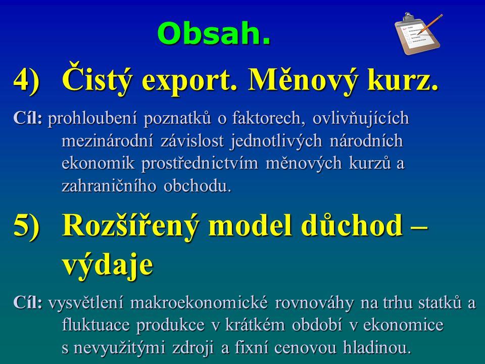 Čistý export. Měnový kurz.