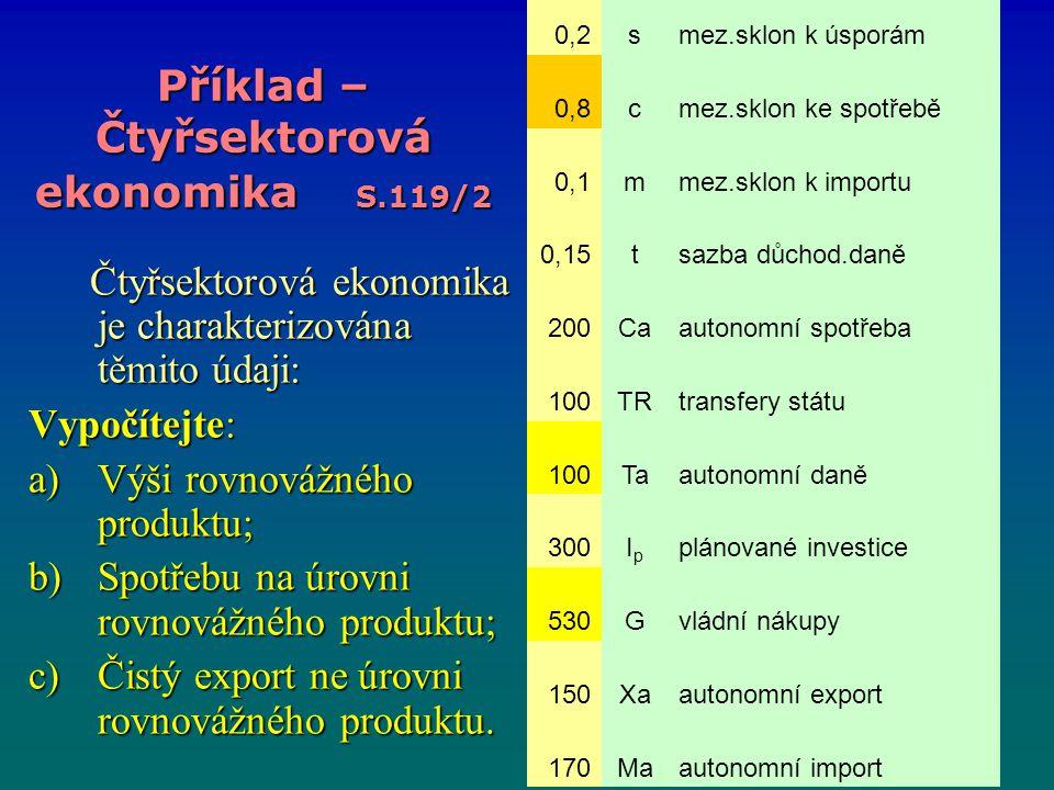 Příklad – Čtyřsektorová ekonomika S.119/2