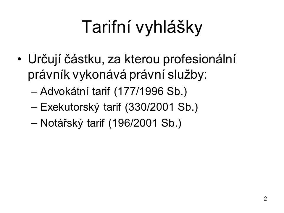 Tarifní vyhlášky Určují částku, za kterou profesionální právník vykonává právní služby: Advokátní tarif (177/1996 Sb.)