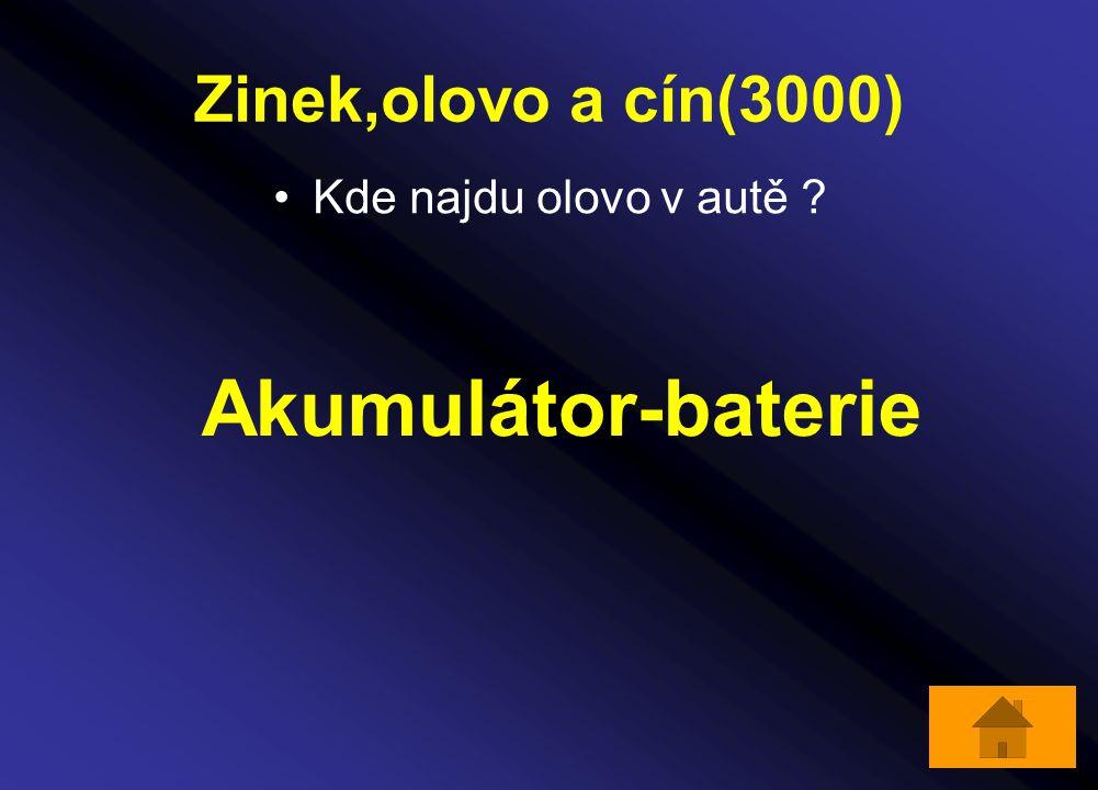 Zinek,olovo a cín(3000) Kde najdu olovo v autě Akumulátor-baterie