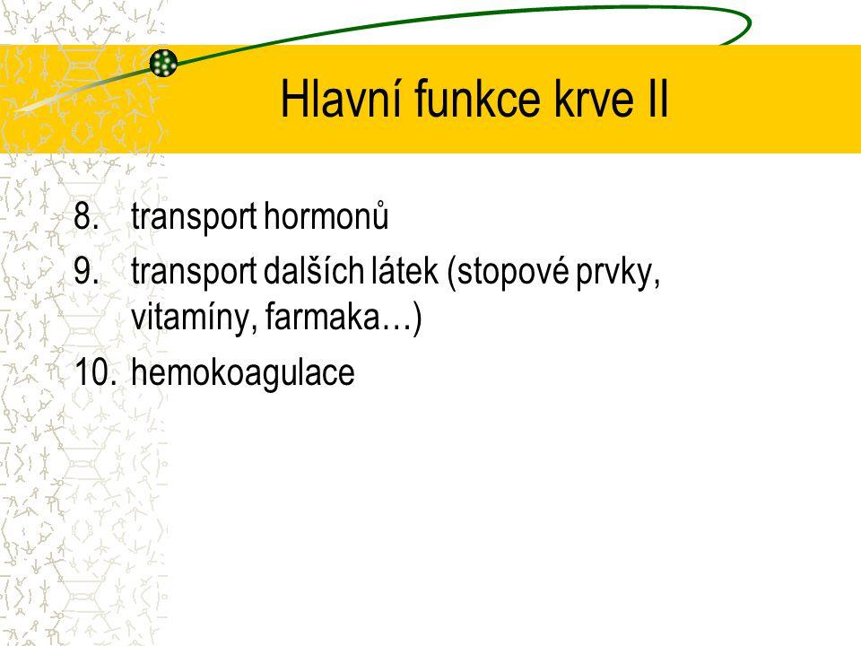 Hlavní funkce krve II transport hormonů