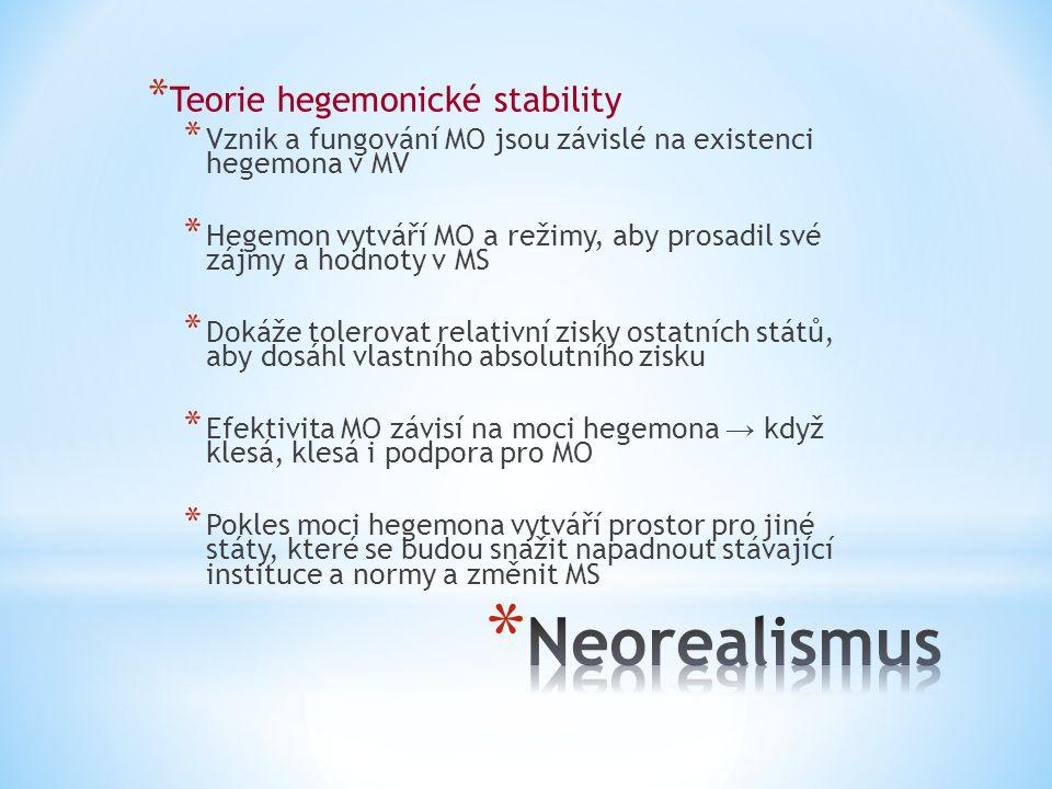 Neorealismus Teorie hegemonické stability