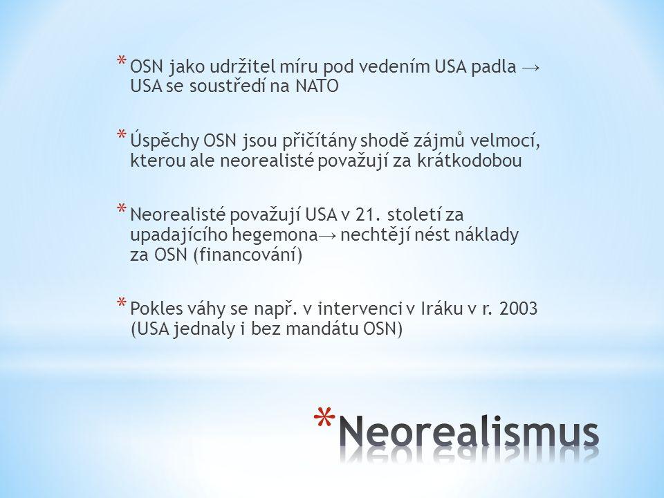 OSN jako udržitel míru pod vedením USA padla → USA se soustředí na NATO