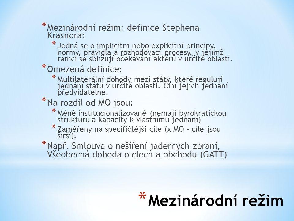 Mezinárodní režim Mezinárodní režim: definice Stephena Krasnera: