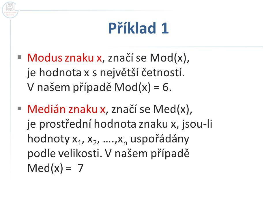 Příklad 1 Modus znaku x, značí se Mod(x), je hodnota x s největší četností. V našem případě Mod(x) = 6.