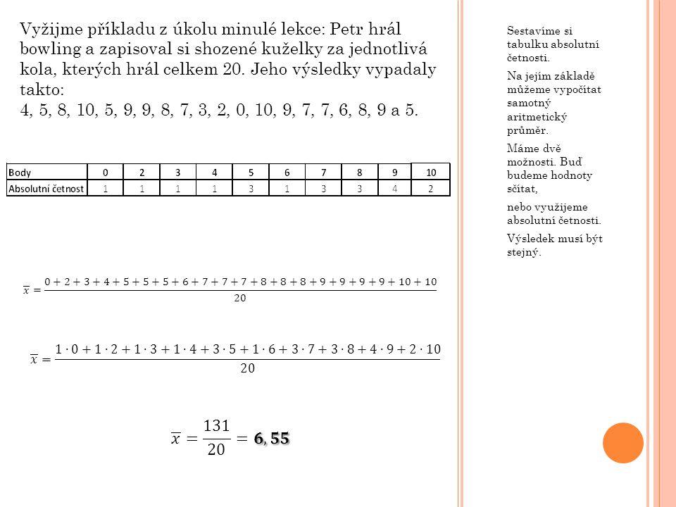 Vyžijme příkladu z úkolu minulé lekce: Petr hrál bowling a zapisoval si shozené kuželky za jednotlivá kola, kterých hrál celkem 20. Jeho výsledky vypadaly takto: 4, 5, 8, 10, 5, 9, 9, 8, 7, 3, 2, 0, 10, 9, 7, 7, 6, 8, 9 a 5.