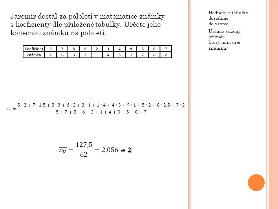 Hodnoty z tabulky dosadíme do vzorce.