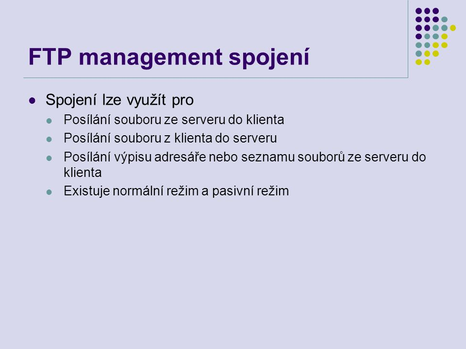 FTP management spojení