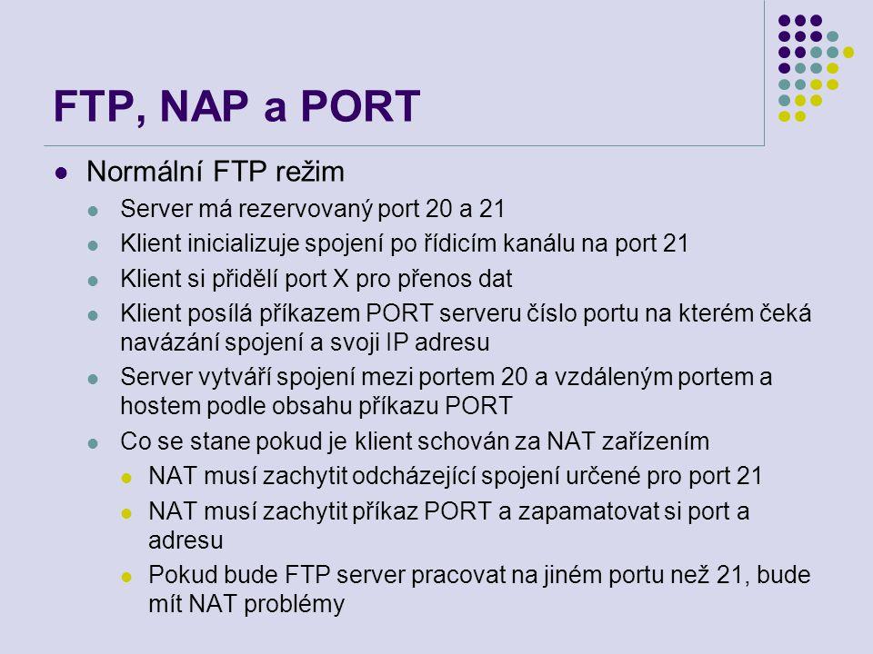FTP, NAP a PORT Normální FTP režim Server má rezervovaný port 20 a 21