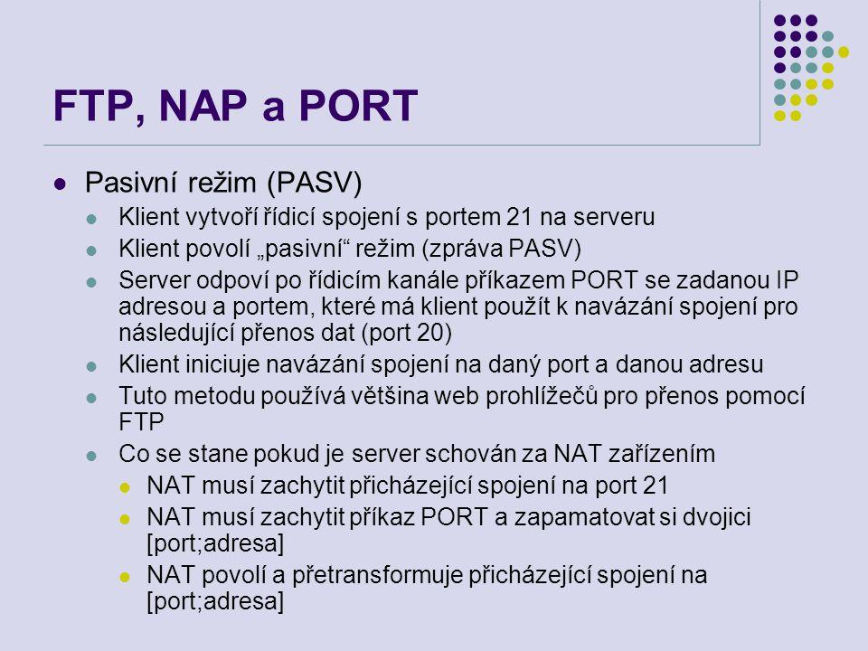 FTP, NAP a PORT Pasivní režim (PASV)