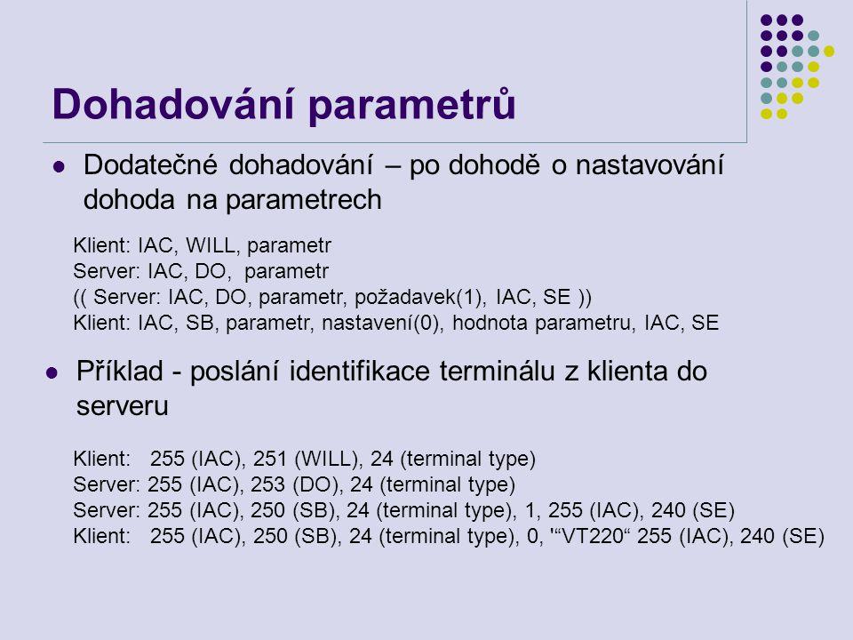 Dohadování parametrů Dodatečné dohadování – po dohodě o nastavování dohoda na parametrech. Klient: IAC, WILL, parametr.